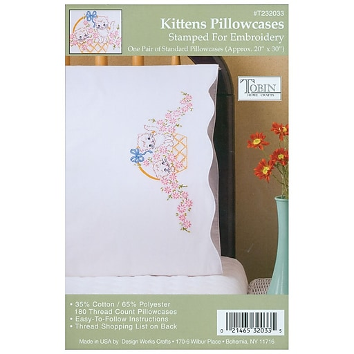 """Tobin T232033 White 20"""" x 30"""" Kittens Stamped Pillowcase For Embroidery, 2/Pack"""
