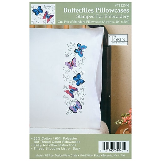 "Tobin T232046 White 20"" x 30"" Butterflies Stamped Pillowcase For Embroidery, 2/Pack"