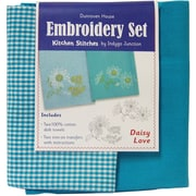 """Dunroven House Turquoise 200-100 28"""" x 20"""" Daisy Love Kitchen Stitches Embroidery Set, 2/Set"""