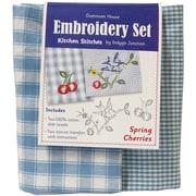"Dunroven House 200-102 Blue/White Check 28"" x 20"" Spring Cherries Kitchen Stitches Embroidery Set, 2/Set"