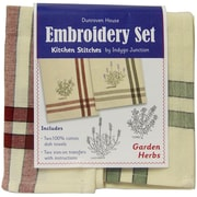 """Dunroven House 200-106 Cream with Red Stripes 28"""" x 20"""" Garden Herbs Kitchen Stitches Embroidery Set, 2/Set"""