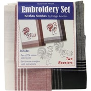 """Dunroven House 200-110 White with Red Stripes 28"""" x 20"""" Roosters Kitchen Stitches Embroidery Set, 2/Set"""