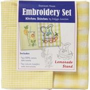 "Dunroven House 200-112 Yellow/White Check 28"" x 20"" Lemonade Stand Kitchen Stitches Embroidery Set, 2/Set"