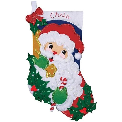 """Tobin DW5004 Multicolor 16"""" Stocking Felt Applique Kit, Holly Santa"""