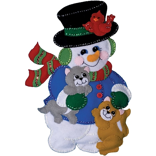 "Tobin DW5181 Multicolor 18"" x 13"" Wall Hanging Felt Applique Kit, Snowman with Cats"