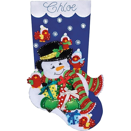 "Tobin DW5231 Multicolor 18"" Stocking Felt Applique Kit, Snowman & Cardinals"