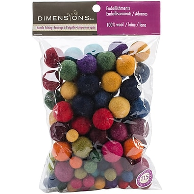 Dimensions 72-74014 Multicolor Feltworks Ball Assortment, 115/Pack