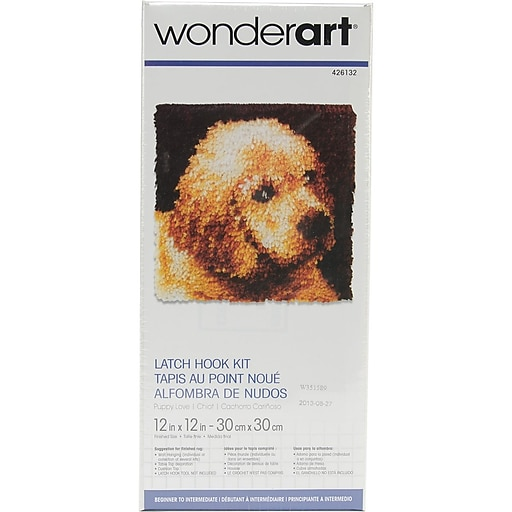 "Wonderart 426132C Multicolor 12"" x 12"" Latch Hook Kit, Puppy Love"
