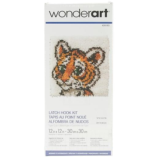 "Wonderart 426183C Multicolor 12"" x 12"" Latch Hook Kit, Tiger Cub"