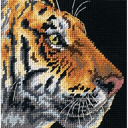 "Dimensions 7225 Multicolor 5"" x 5"" Tiger Profile Mini Needlepoint Kit"