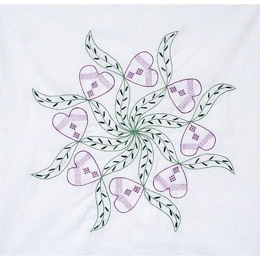 "Fairway 92205 18"" x 18"" Violet Hearts Stamped Quilt Blocks, 6/Pack"