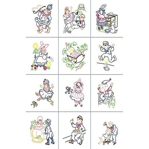 """Fairway 92328 Multicolor 9"""" x 9"""" Nursery Rhymes Stamped Baby Quilt Blocks, 12/Pack"""