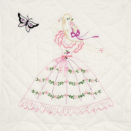 """Fairway 95209 18"""" x 18"""" Butterfly Lady Stamped Quilt Blocks, 6/Pack"""