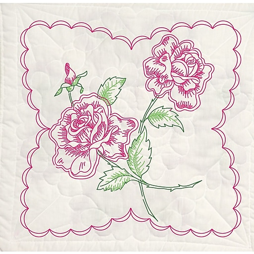 """Fairway 95395 18"""" x 18"""" Roses with Heart Background Stamped Quilt Blocks, 6/Pack"""