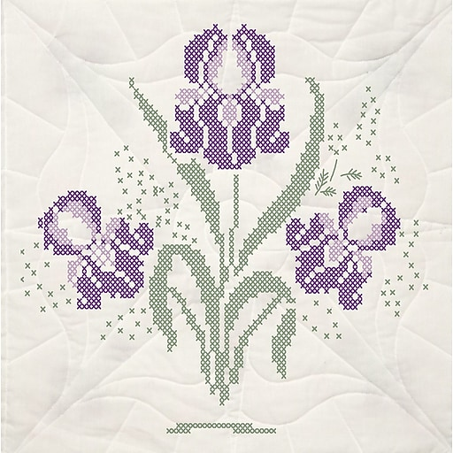 """Fairway 95493 18"""" x 18"""" Iris with Quilting Marks Stamped Quilt Blocks, 6/Pack"""