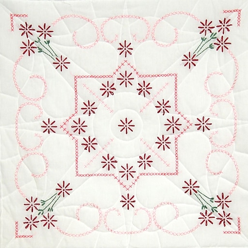 """Fairway 98205 18"""" x 18"""" Lazy Daisy Stamped Quilt Blocks, 6/Pack"""