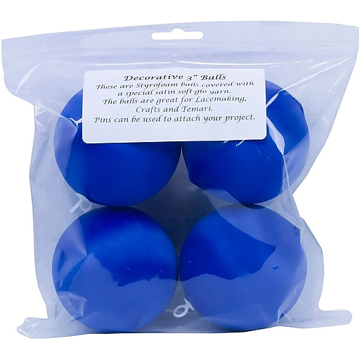 "Handy Hands SBN3-DB 3"" Dark Blue Satin Balls, 4/Pack"