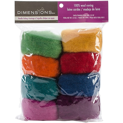 Dimensions 72-74002 Rainbow Wool Roving for Needle Felting, 8/Pack