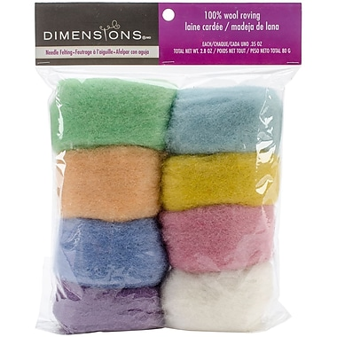 Dimensions 72-74003 Pastel Wool Roving for Needle Felting, 8/Pack