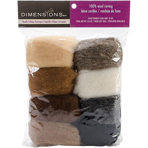 Dimensions 72-74004 Earth Tone Wool Roving for Needle Felting, 8/Pack