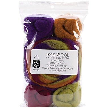 Wistyria Editions WRS-W902R Wool Fall Harvest Stripe Roving, 8/Pack