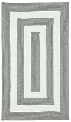 Capel Willoughby Beige Striped Outdoor Area Rug; Concentric Square 9'6''
