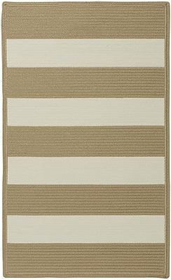 Capel Willoughby Cream Striped Outdoor Area Rug; Cross Sewn Runner 2' x 8'