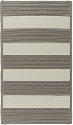 Capel Willoughby Beige Striped Outdoor Area Rug; Cross Sewn Square 3'