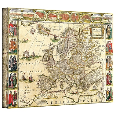 ArtWall Antique Maps 'Map of Europe' by Willem Blaeu Graphic Art on Wrapped Canvas; 24'' H x 36'' W