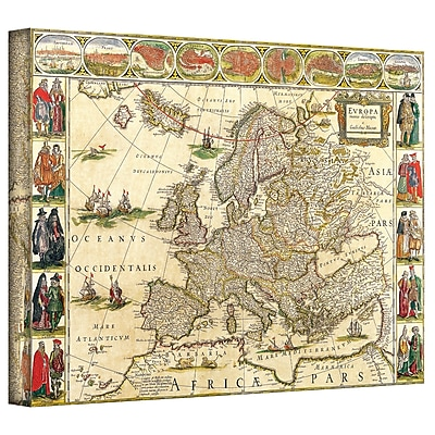 ArtWall Antique Maps 'Map of Europe' by Willem Blaeu Graphic Art on Wrapped Canvas; 32'' H x 48'' W