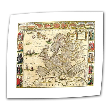 ArtWall Antique Maps 'Map of Europe' by Willem Blaeu Graphic Art on Rolled Canvas; 36'' H x 52'' W