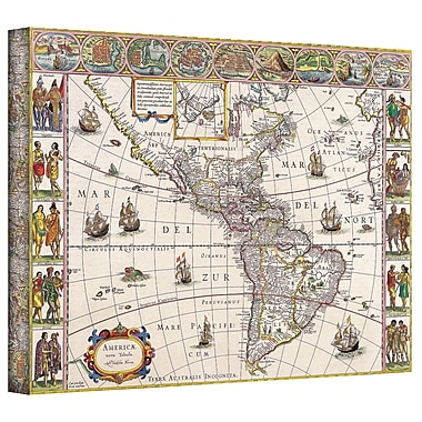ArtWall Antique Maps 'Map of South America' by Willem Blaeu Graphic Art on Wrapped Canvas