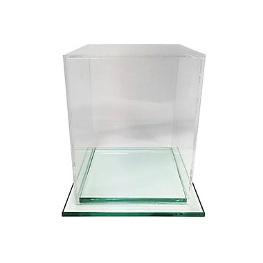 Futech – Présentoir cubique en acrylique avec base en verre BBOX003, 8 po x 8 po x 8 po, transparent
