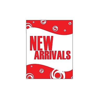 Futech - Affiche en papier cartonné « NEW ARRIVALS » PSP004, 28 po x 22 po x ? po, rouge, paq./4