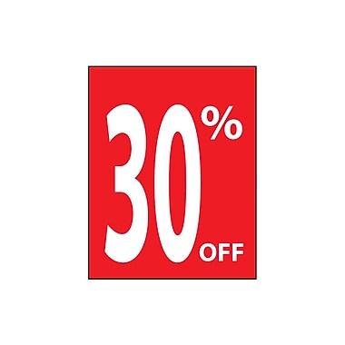Futech - Affiche en papier cartonné « 30% OFF » PSP030, 28 po x 22 po x ? po, rouge, paq./4