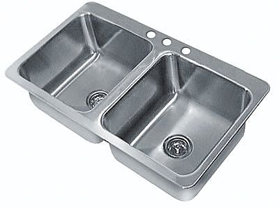 Advance Tabco Double Seamless Bowl 2 Compartment Drop-in Sink; 12'' H x 33'' W x 21'' D