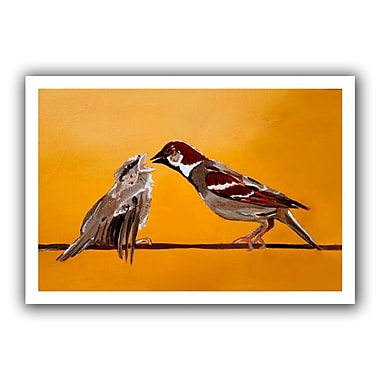 ArtWall Sparrows' by Lindsey Janich Painting Print on Rolled Canvas; 36'' H x 52'' W