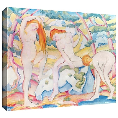 ArtWall 'Bathing Girls' by Franz Marc Painting Print on Wrapped Canvas; 24'' H x 32'' W