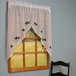 Curtain Chic 2 Piece Garden Path Embroidered Blueberries Swag Set