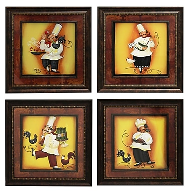 EC World Imports Urban Designs The Chef 4 Piece Framed Graphic Art Set