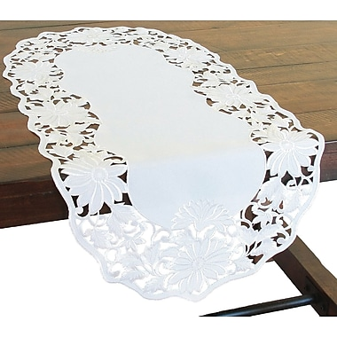 Xia Home Fashions Daisy Garden Embroidered Cutwork Table Runner; 72'' W x 15'' L