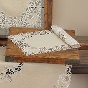Xia Home Fashions Scrolling Rose Embroidered Cutwork Tray Cloth (Set of 4)