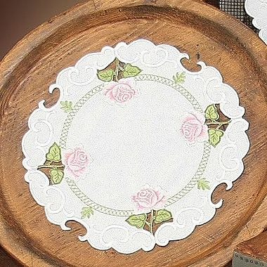 Xia Home Fashions Summer Rose Embroidered Cutwork Round Doily (Set of 4); 12''