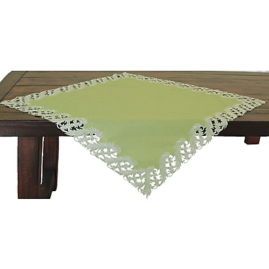Xia Home Fashions Laurel Embroidered Cutwork Table Topper; Green