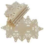 Xia Home Fashions Victorian Lace Embroidered Cutwork Placemat (Set of 4); Taupe