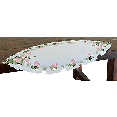Xia Home Fashions Summer Rose Embroidered Cutwork Table Runner; 72'' W x 15'' L