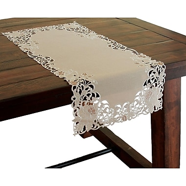 Xia Home Fashions Scrolling Rose Embroidered Cutwork Table Runner; 54'' W x 15'' L
