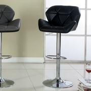Hokku Designs Reza Adjustable Height Swivel Bar Stool with Cushion; Black