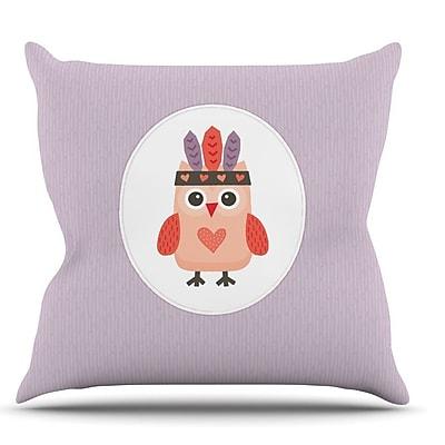KESS InHouse Hipster Owlet by Daisy Beatrice Throw Pillow; 18'' H x 18'' W x 1'' D