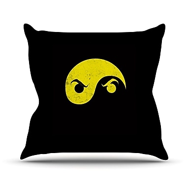 KESS InHouse Yin Yang Ninja by Frederic Levy-Hadida Throw Pillow; 18'' H x 18'' W x 1'' D